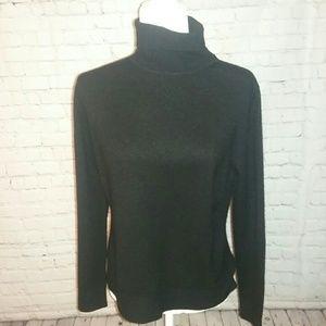 Classic Black Cashmere Turtleneck Sweater